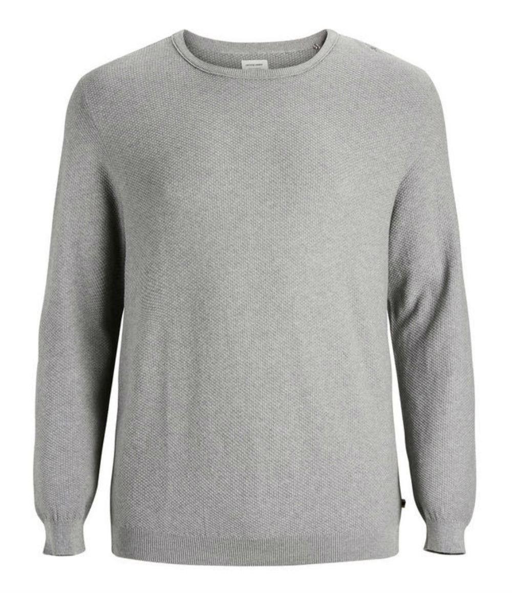 JACK   amp; JONES Plus Size Basic Crew Neck Pullover - Grey