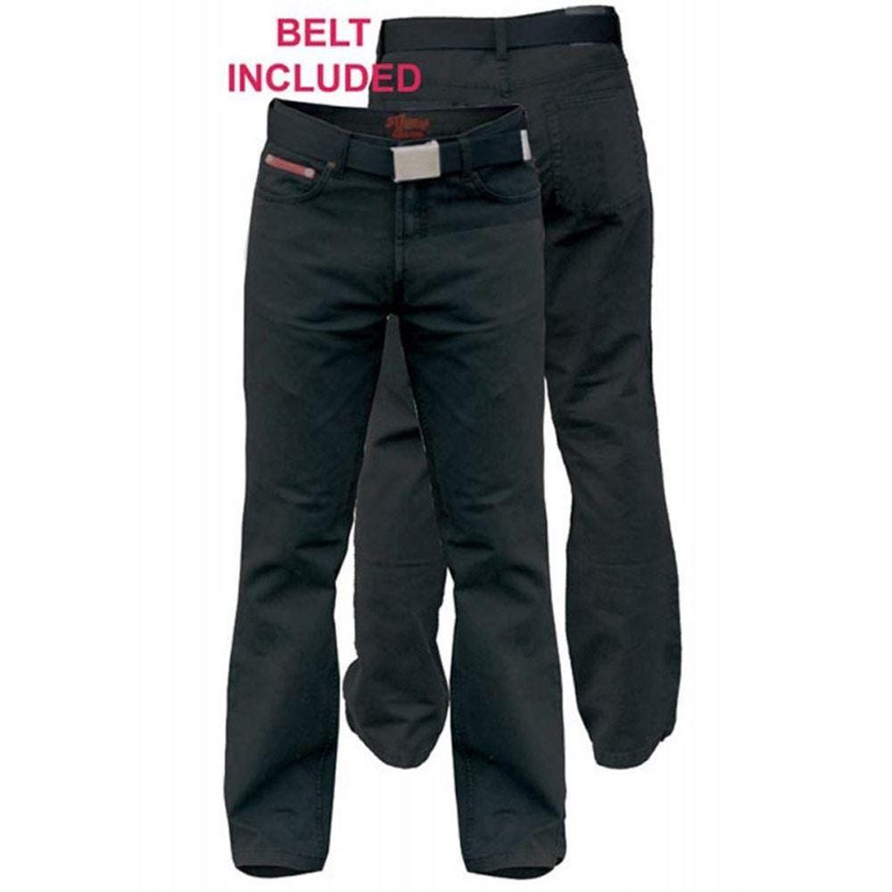 D555 Mario Bedford Cord Trouser With Belt Black|48W30L