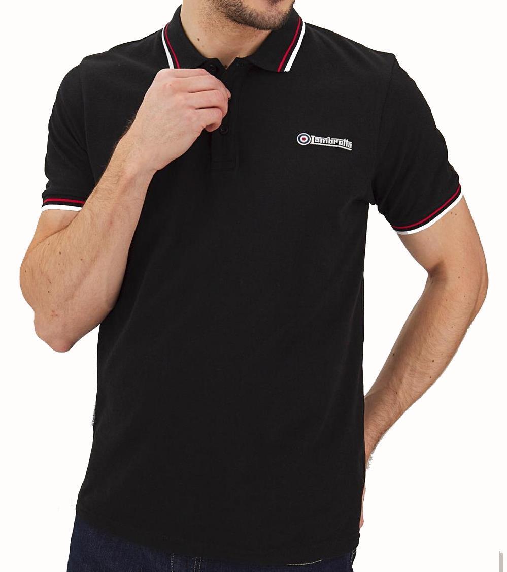 5XL 4XL Lambretta Regular Polo Shirt in Black and Mustard 3XL