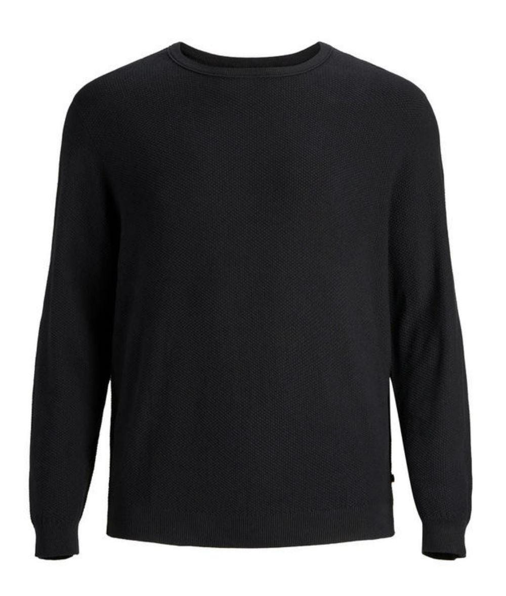 JACK   amp; JONES Plus Size Basic Crew Neck Pullover - Black