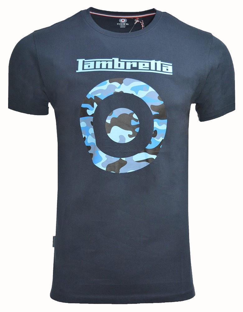 Lambreta Mens Camo Target Cotton Short Sleeve Crew Neck T-Shirt White 3XL