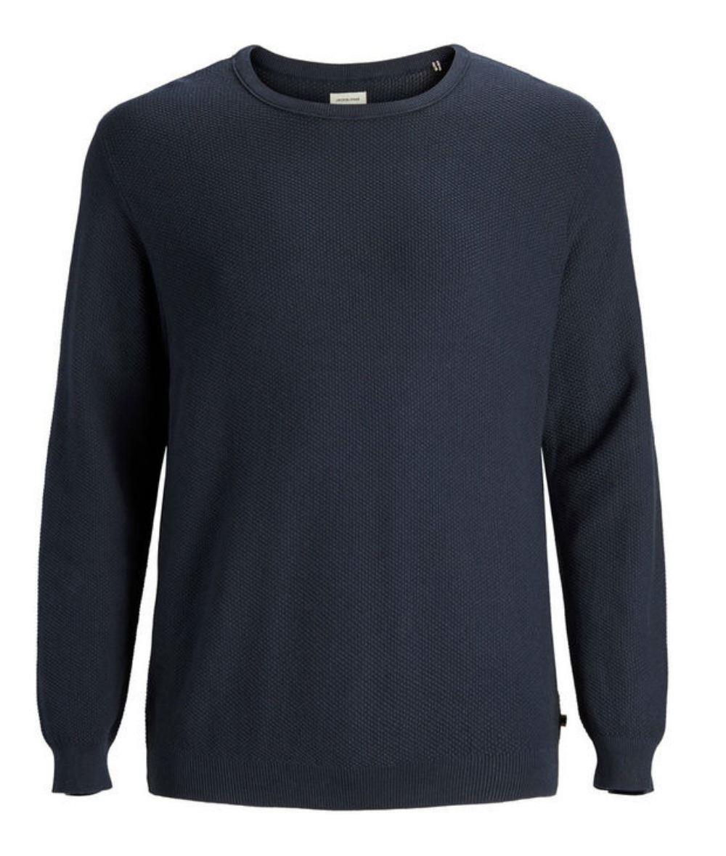 JACK   amp; JONES Plus Size Basic Crew Neck Pullover - Navy Blue