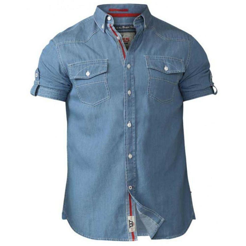 D555 Twin Pocket Light Denim Tall Shirt Blue 1XLT