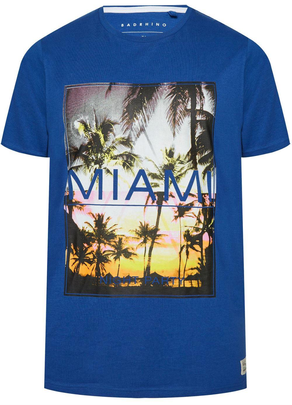 Bad Rhino Miami Print T-Shirt - Blue|5-6XL