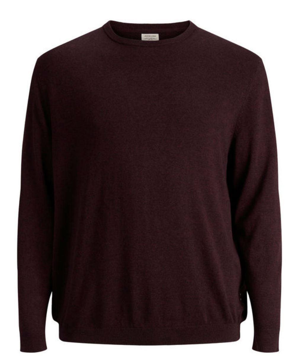 JACK   amp; JONES Plus Size Basic Pullover - Port Red 3XL