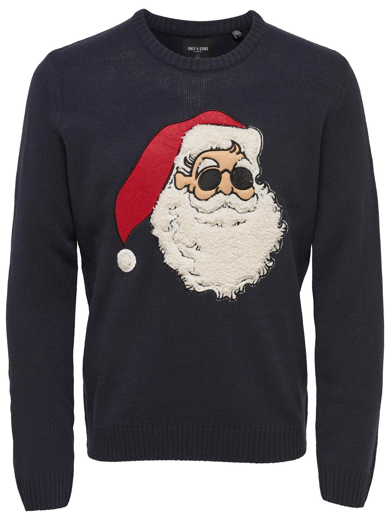 Only   amp; Sons Christmas Knitted Pullover - Navy Blue 3XL