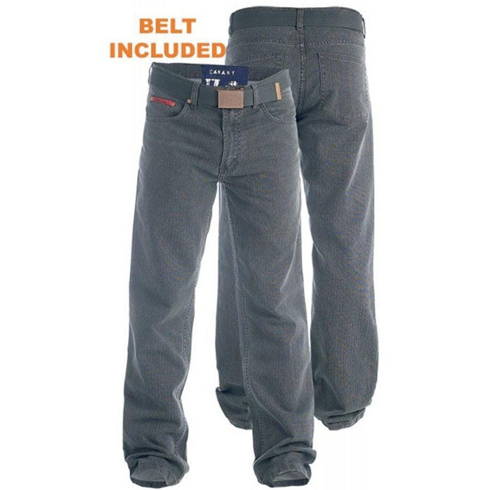 D555 Canary Bedford Cord Trouser With Belt Grey|54W32L