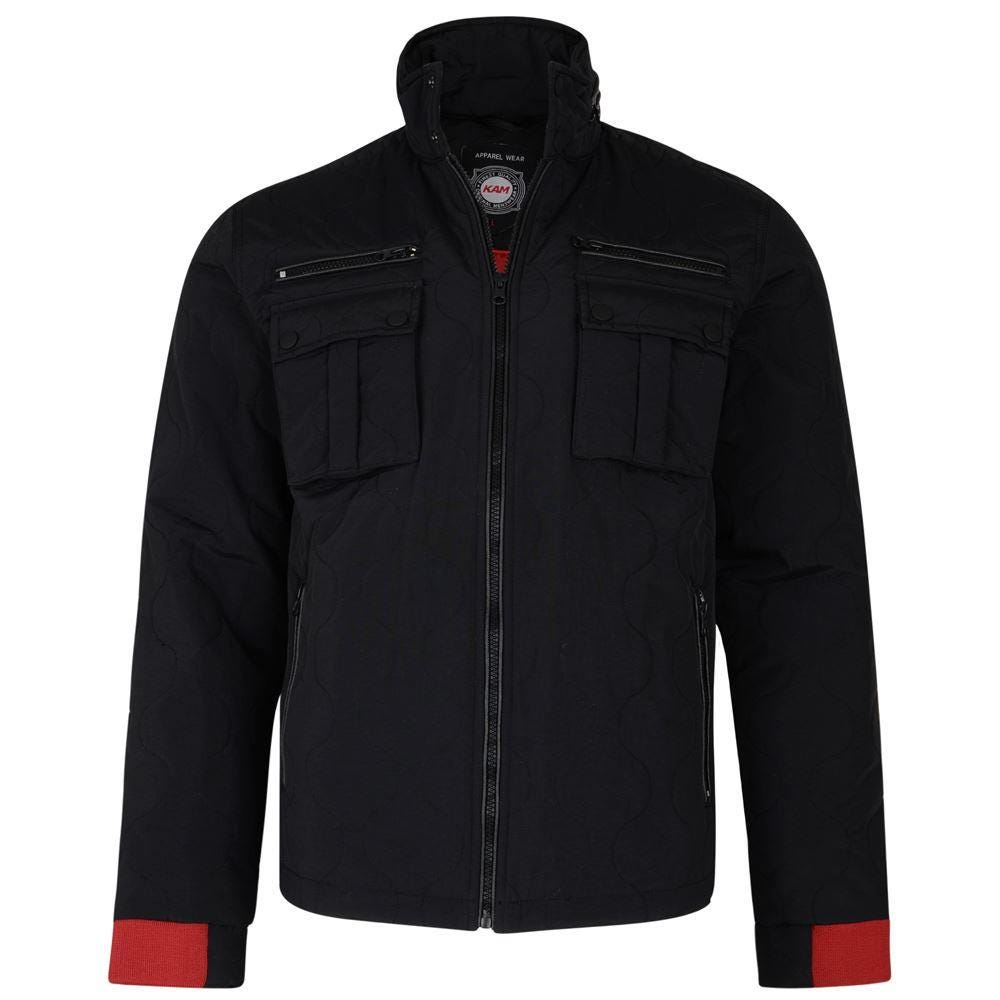KAM Casual Quilted Jacket in Black with Red Ribbed Cuffs |6XL