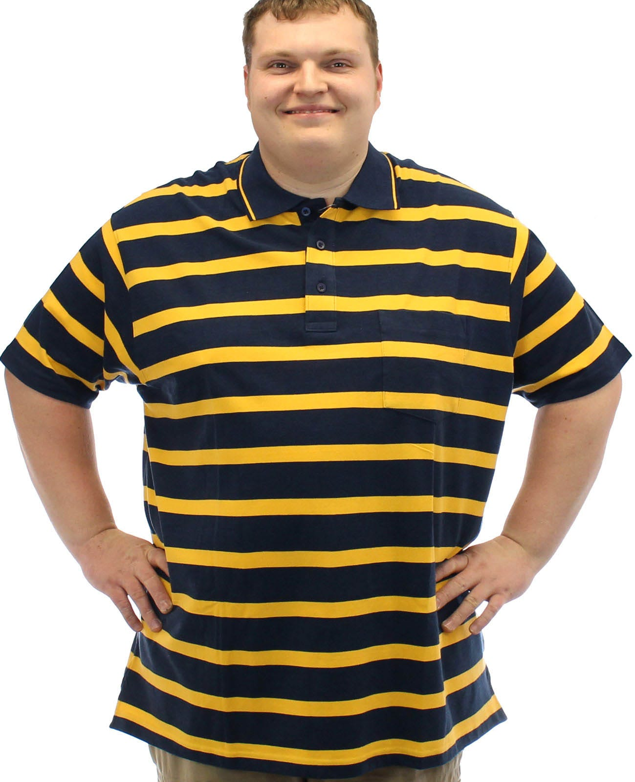 Brooklyn Striped Polo Shirt Navy/Yellow