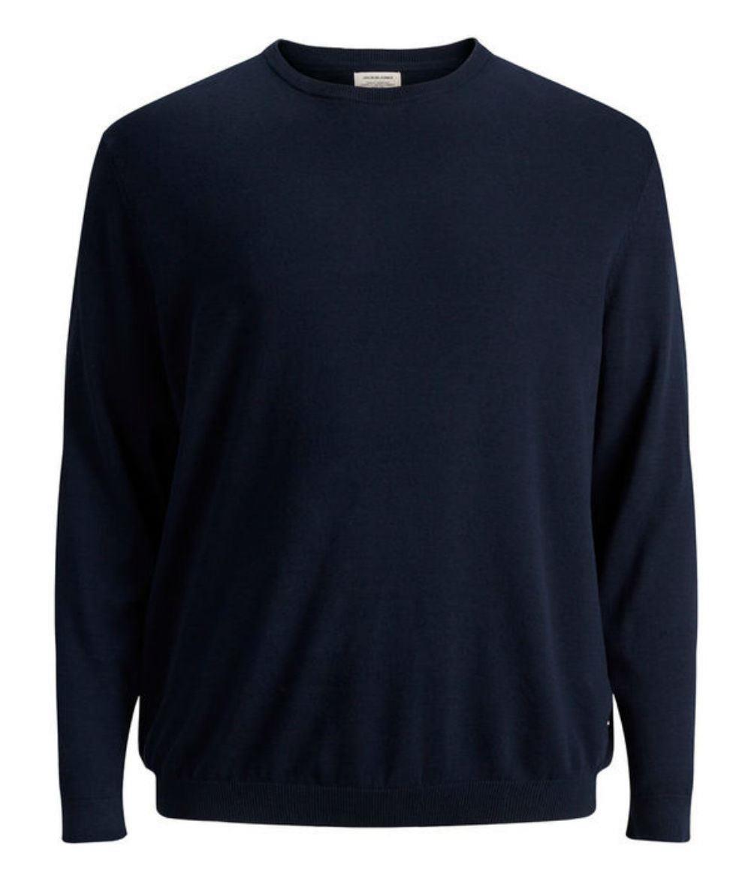JACK   amp; JONES Plus Size Basic Pullover - Navy Blue 4XL