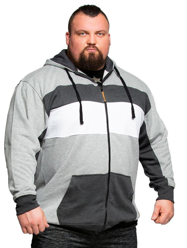 KAM Full Zip Hoody with Printed Panel Over Shoulders in Feather Grey