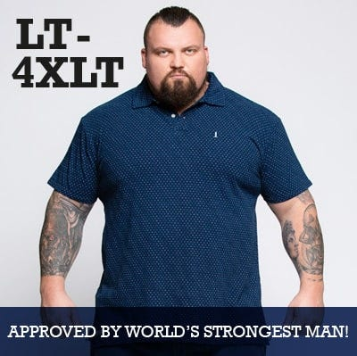 Tall men's Autumn 2018 collection up to 4XLT featuring Eddie Hall