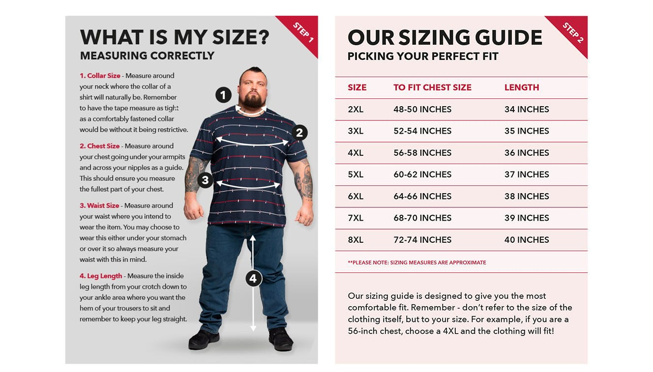 Big men's collar size, tall mens leg size, big mens waist size, big mens chest size image.