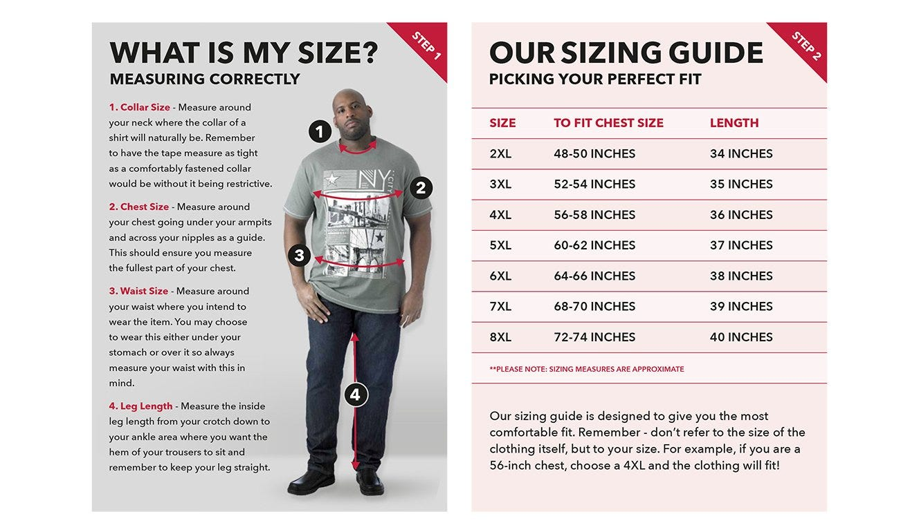 Big men's collar size, tall mens leg size, big mens waist size, big mens chest size image.