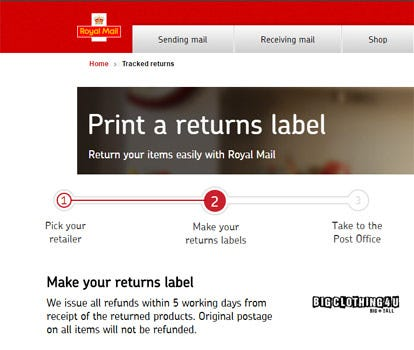 Royal Mail Portal Site for Returns